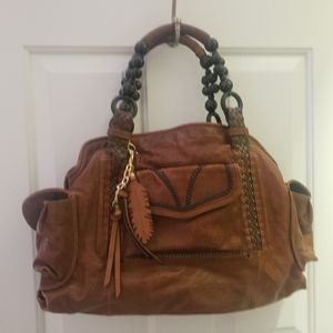 BEBE Brown Leather large handbag feather beads